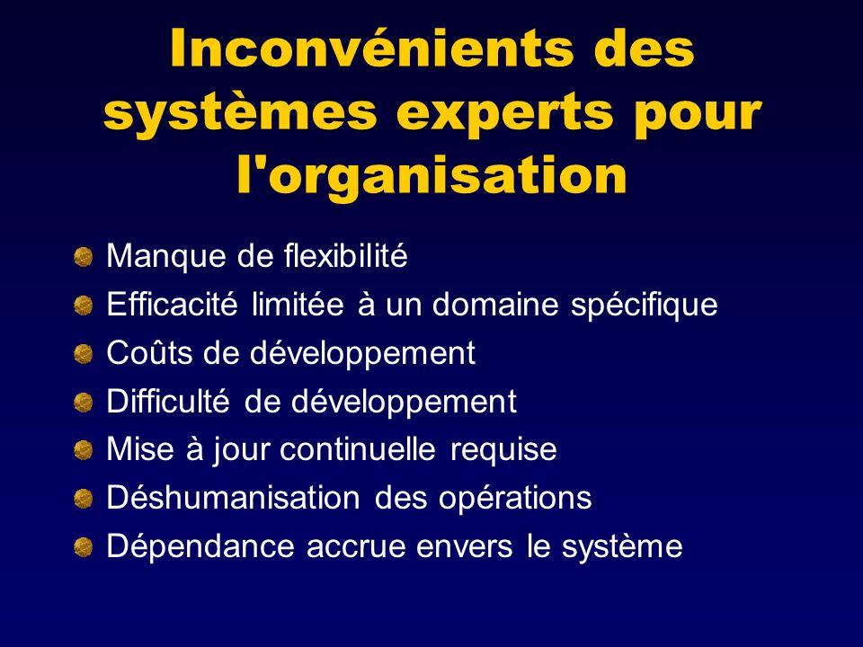 Inconvénients des systèmes experts pour l organisation