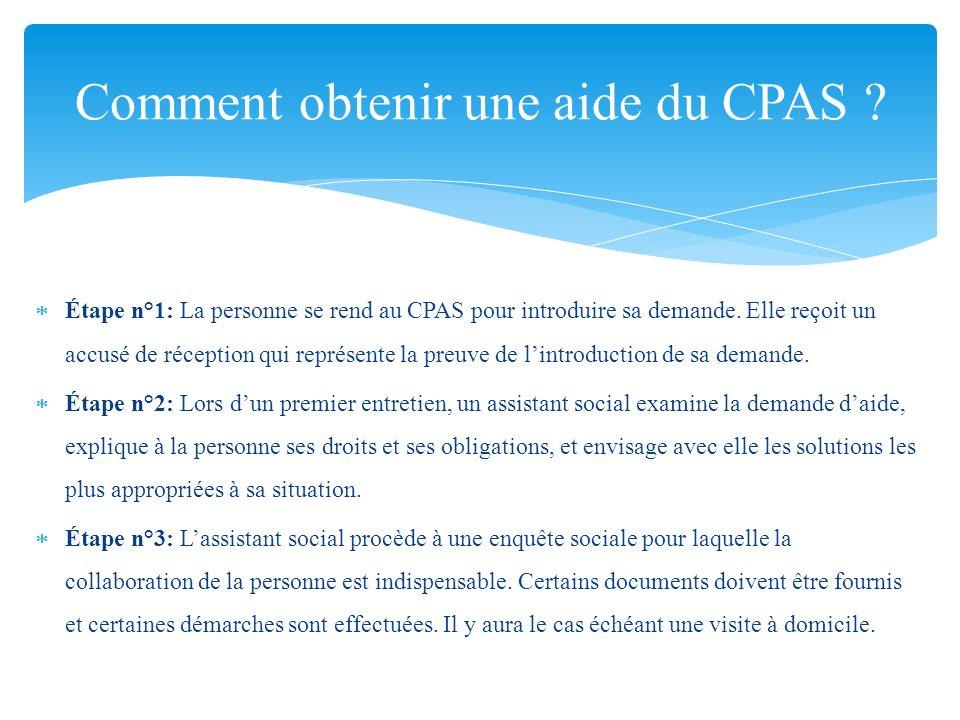 Comment obtenir une aide du CPAS