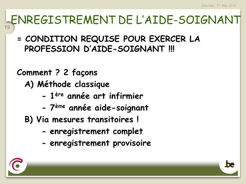 ENREGISTREMENT DE L'AIDE-SOIGNANT