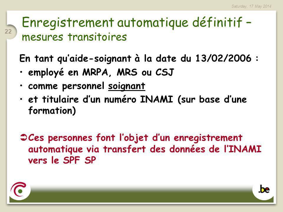 Enregistrement automatique définitif – mesures transitoires