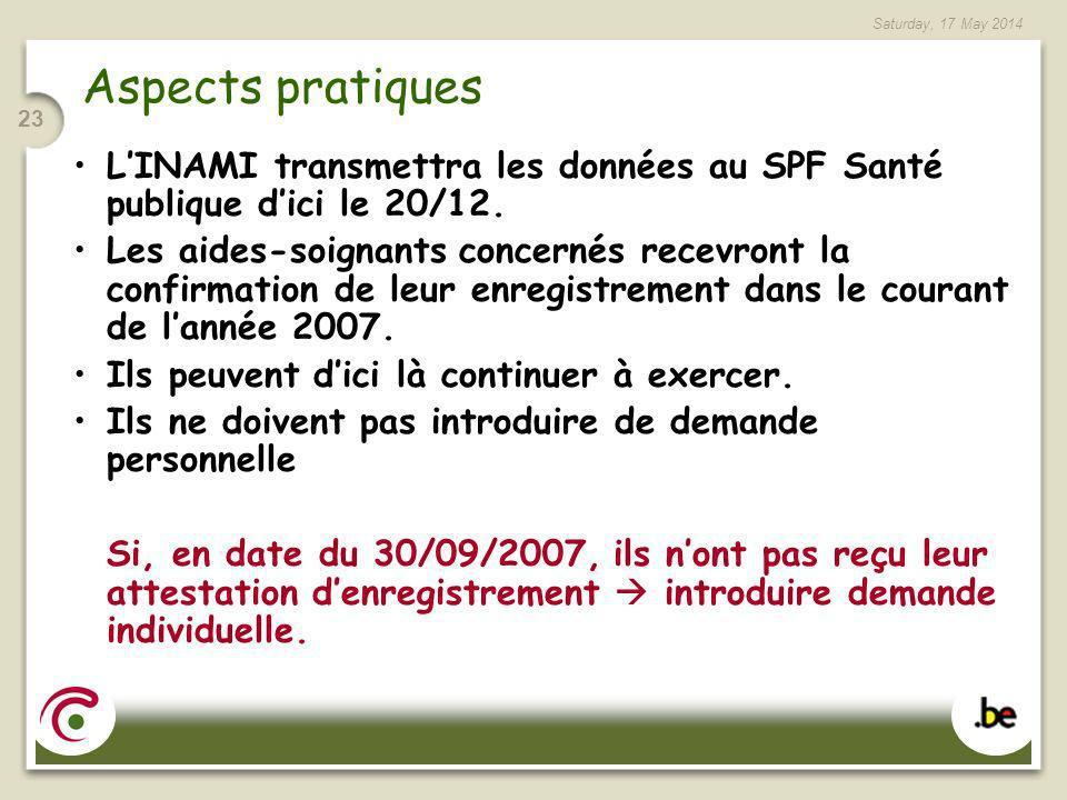 Aspects pratiques L'INAMI transmettra les données au SPF Santé publique d'ici le 20/12.