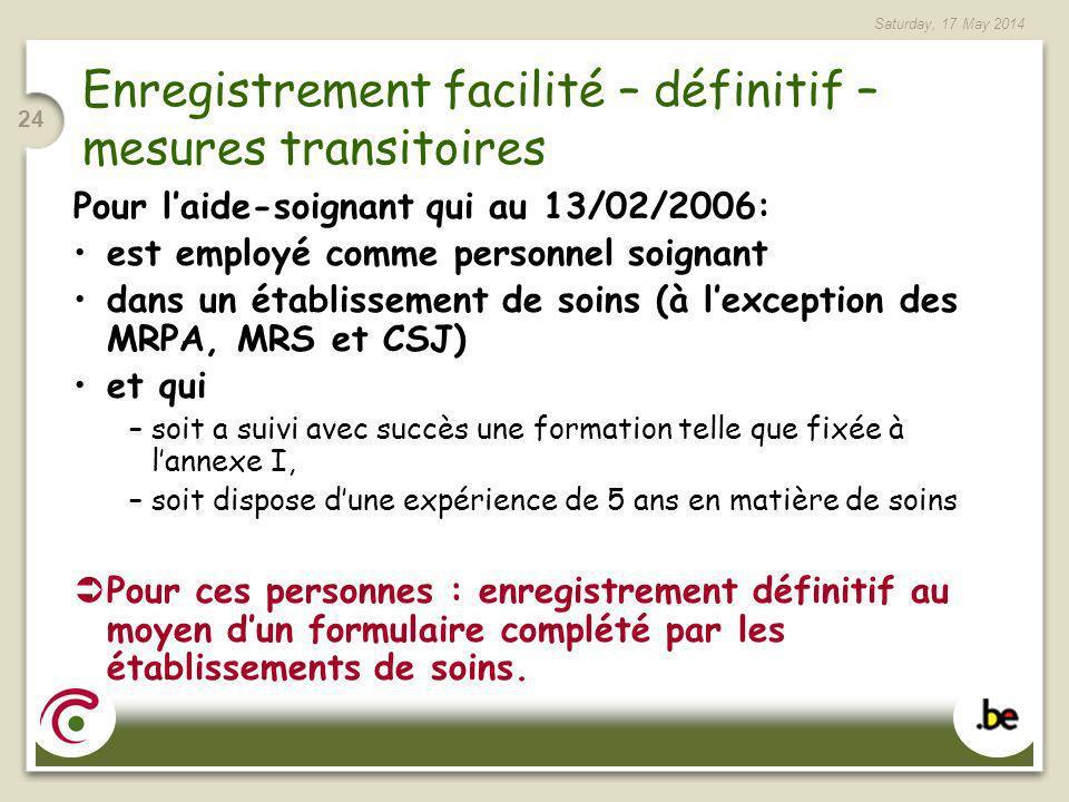 Enregistrement facilité – définitif – mesures transitoires