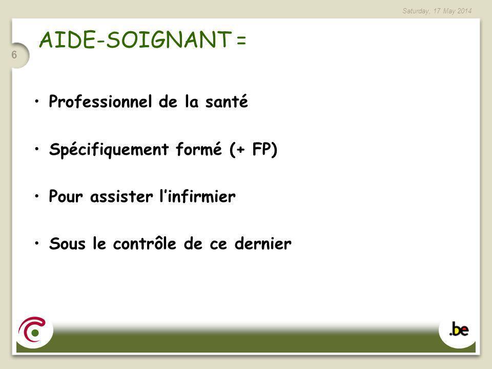 AIDE-SOIGNANT = Professionnel de la santé Spécifiquement formé (+ FP)