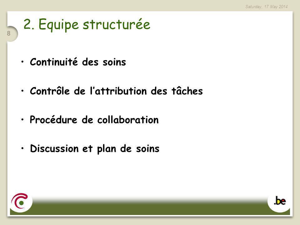 2. Equipe structurée Continuité des soins