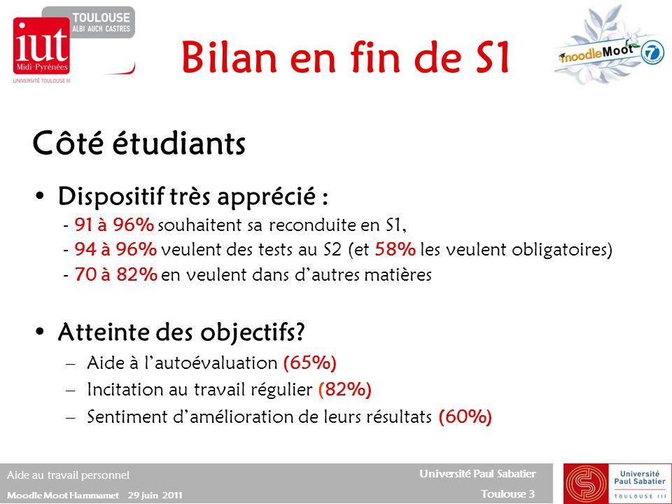 Bilan en fin de S1 Côté étudiants Dispositif très apprécié :