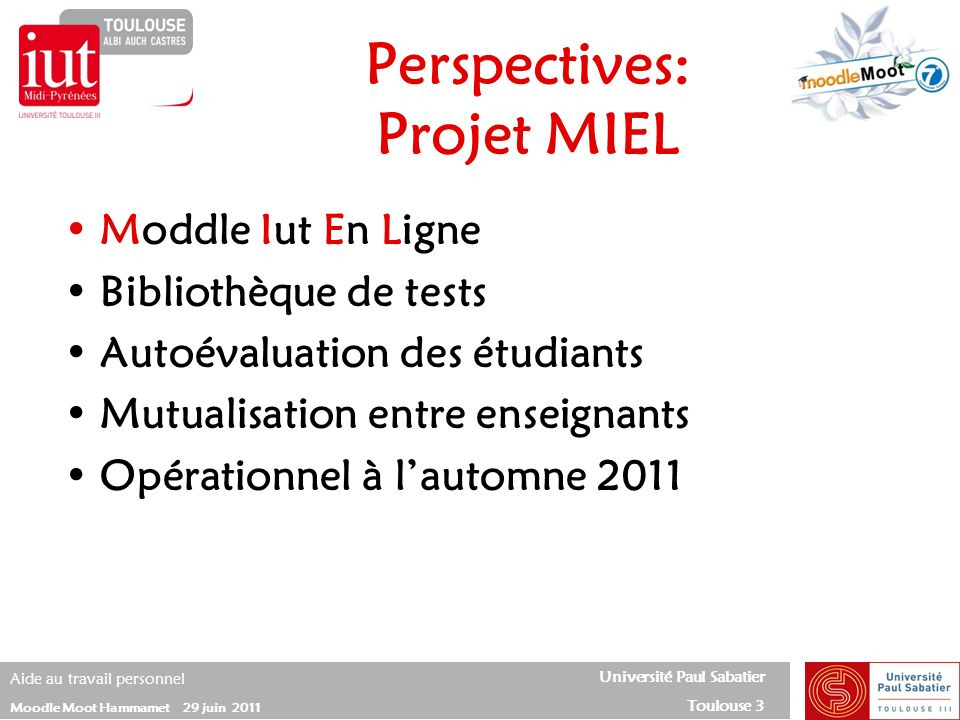 Perspectives: Projet MIEL