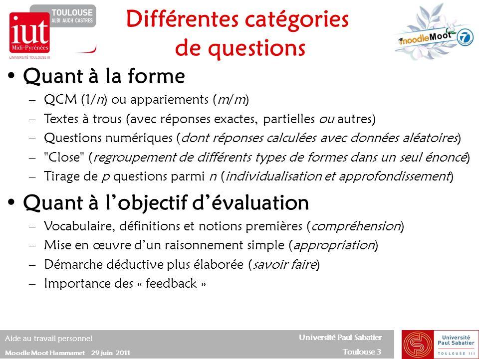 Différentes catégories de questions