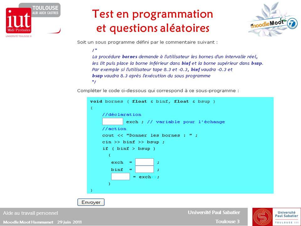 Test en programmation et questions aléatoires