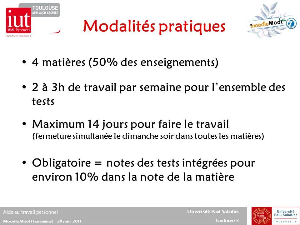 Modalités pratiques 4 matières (50% des enseignements)