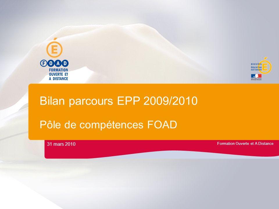 Bilan parcours EPP 2009/2010 Pôle de compétences FOAD