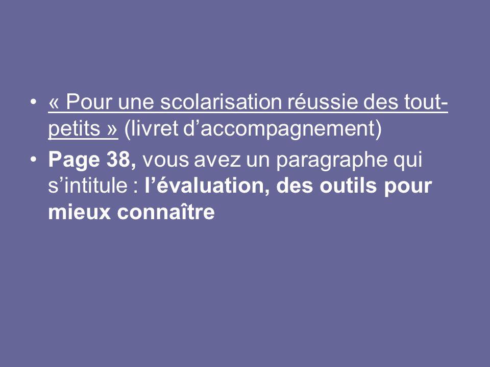 « Pour une scolarisation réussie des tout-petits » (livret d'accompagnement)