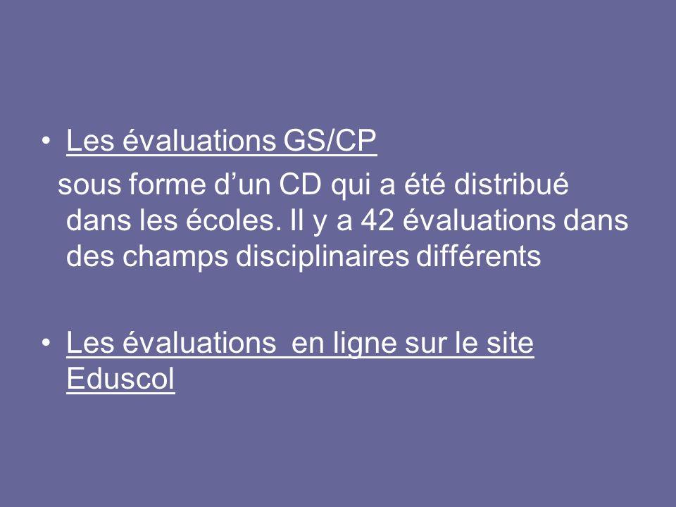 Les évaluations en ligne sur le site Eduscol