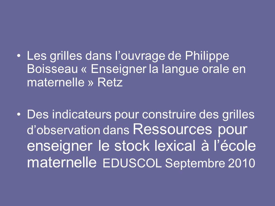 Les grilles dans l'ouvrage de Philippe Boisseau « Enseigner la langue orale en maternelle » Retz
