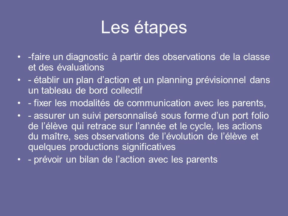 Les étapes -faire un diagnostic à partir des observations de la classe et des évaluations.