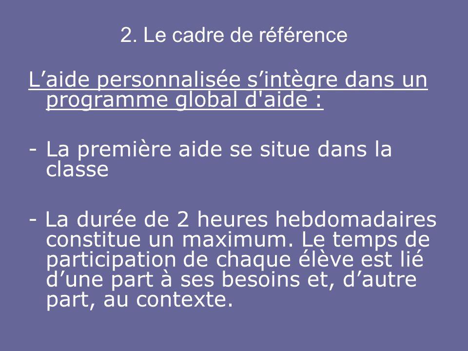 2. Le cadre de référence L'aide personnalisée s'intègre dans un programme global d aide : La première aide se situe dans la classe.