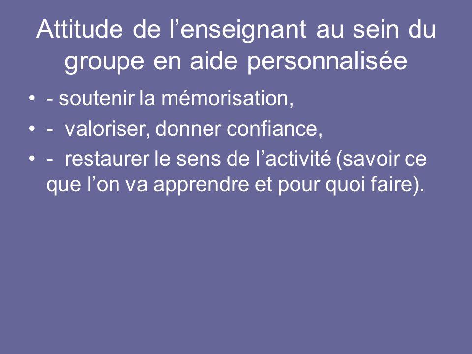Attitude de l'enseignant au sein du groupe en aide personnalisée