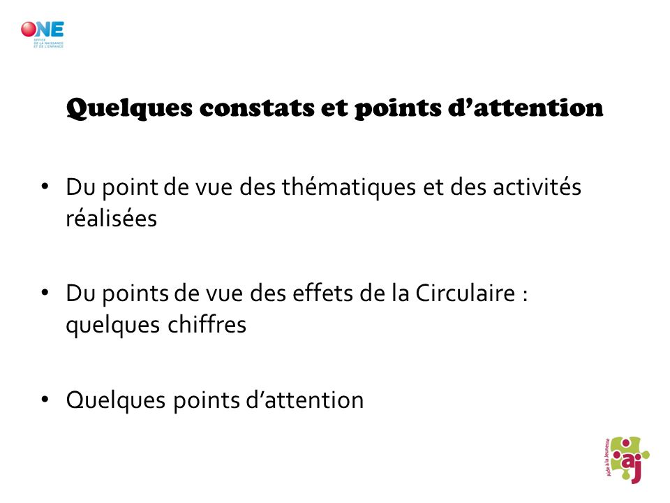 Quelques constats et points d'attention