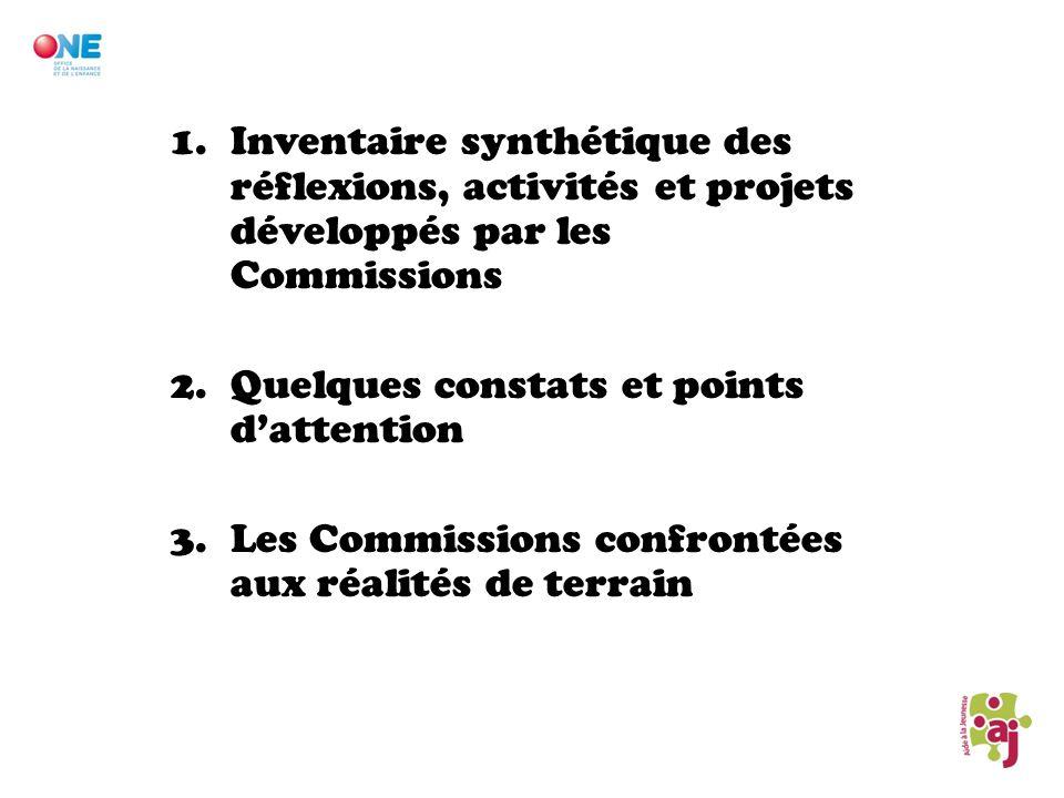 Inventaire synthétique des réflexions, activités et projets développés par les Commissions