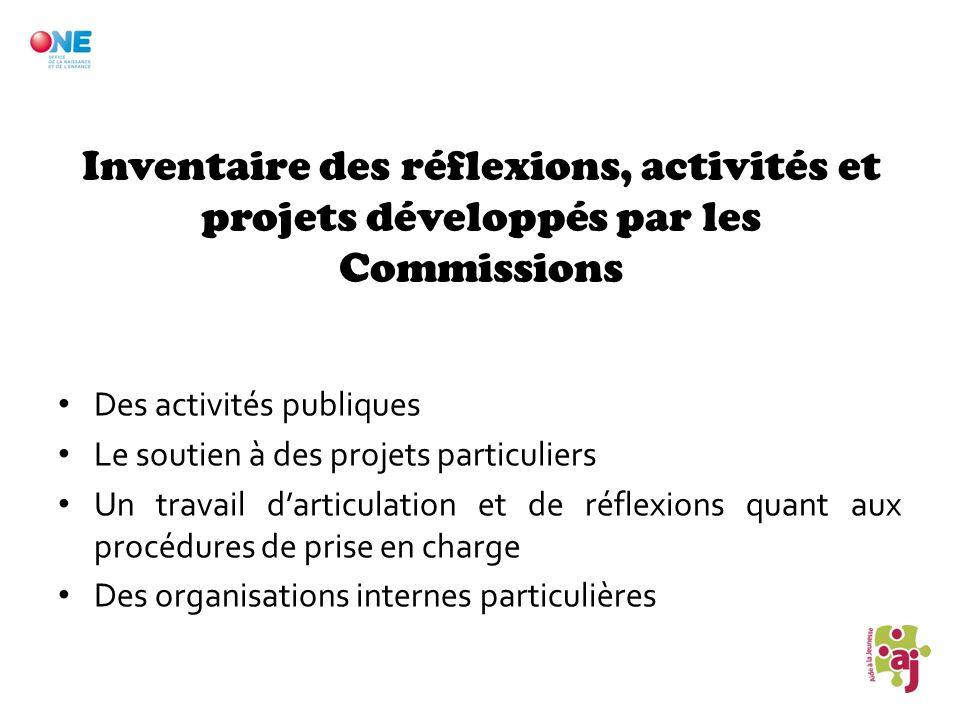 Inventaire des réflexions, activités et projets développés par les Commissions