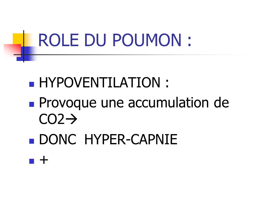 ROLE DU POUMON : HYPOVENTILATION : Provoque une accumulation de CO2