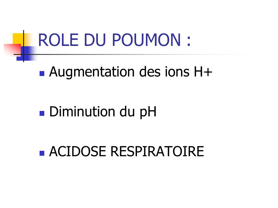 ROLE DU POUMON : Augmentation des ions H+ Diminution du pH