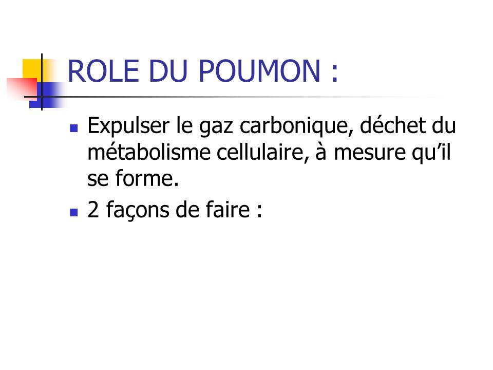 ROLE DU POUMON : Expulser le gaz carbonique, déchet du métabolisme cellulaire, à mesure qu'il se forme.