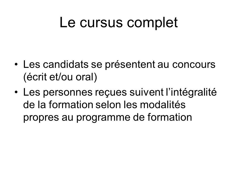 Le cursus complet Les candidats se présentent au concours (écrit et/ou oral)