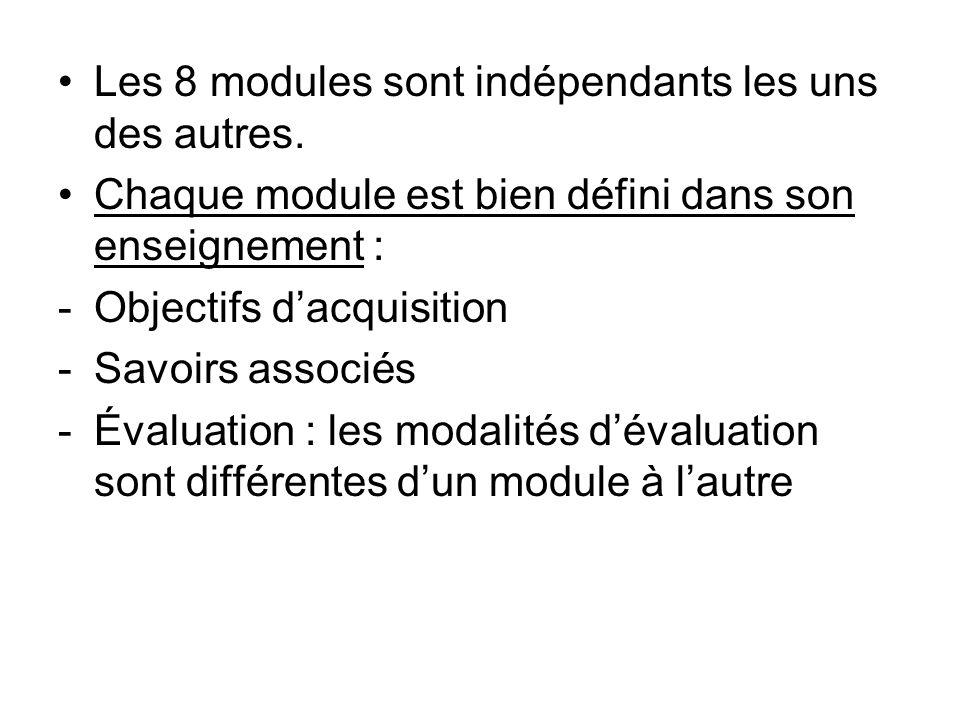 Les 8 modules sont indépendants les uns des autres.