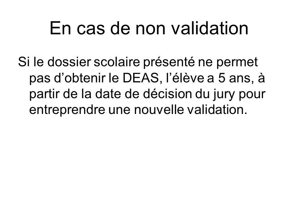 En cas de non validation