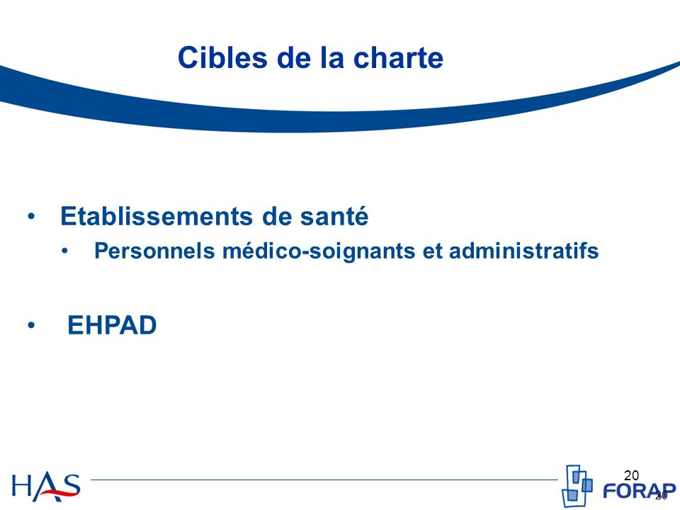 Cibles de la charte Etablissements de santé EHPAD