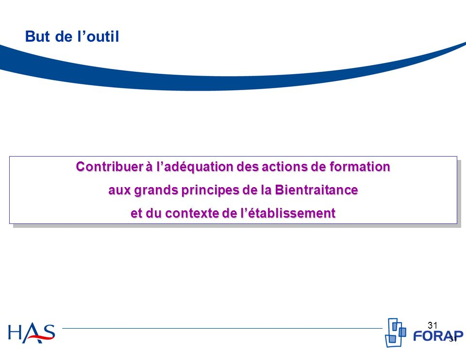 But de l'outil Contribuer à l'adéquation des actions de formation