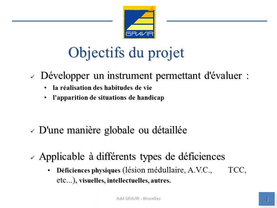 Objectifs du projet Développer un instrument permettant d évaluer :