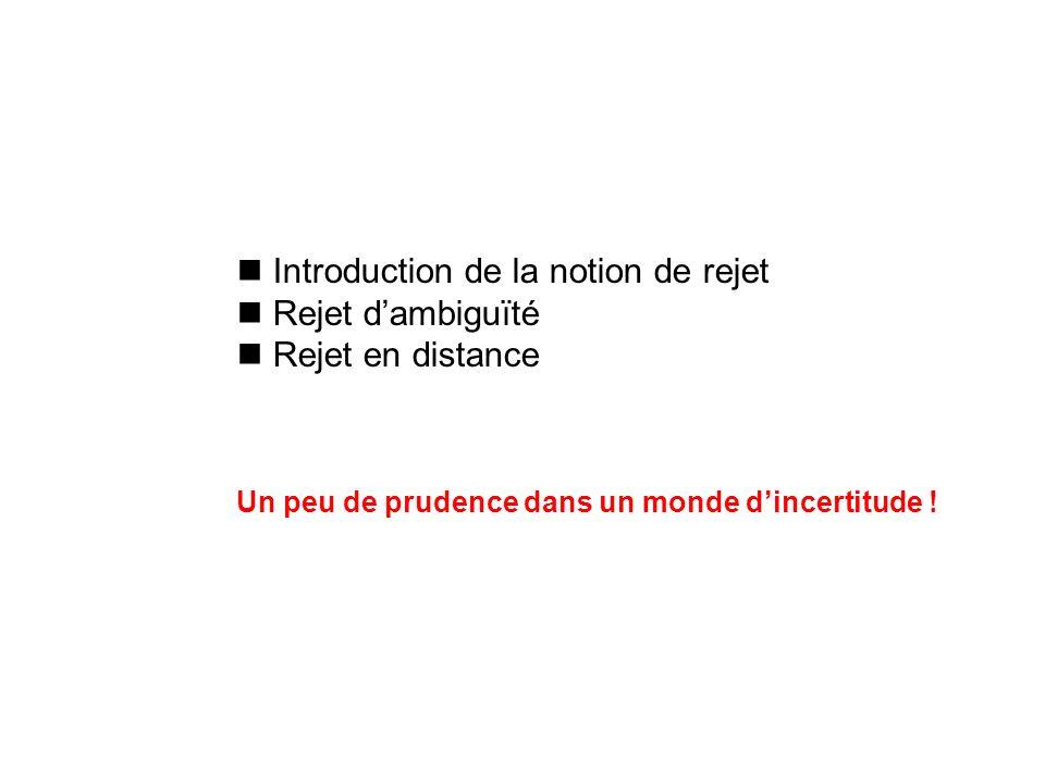 Introduction de la notion de rejet Rejet d'ambiguïté Rejet en distance
