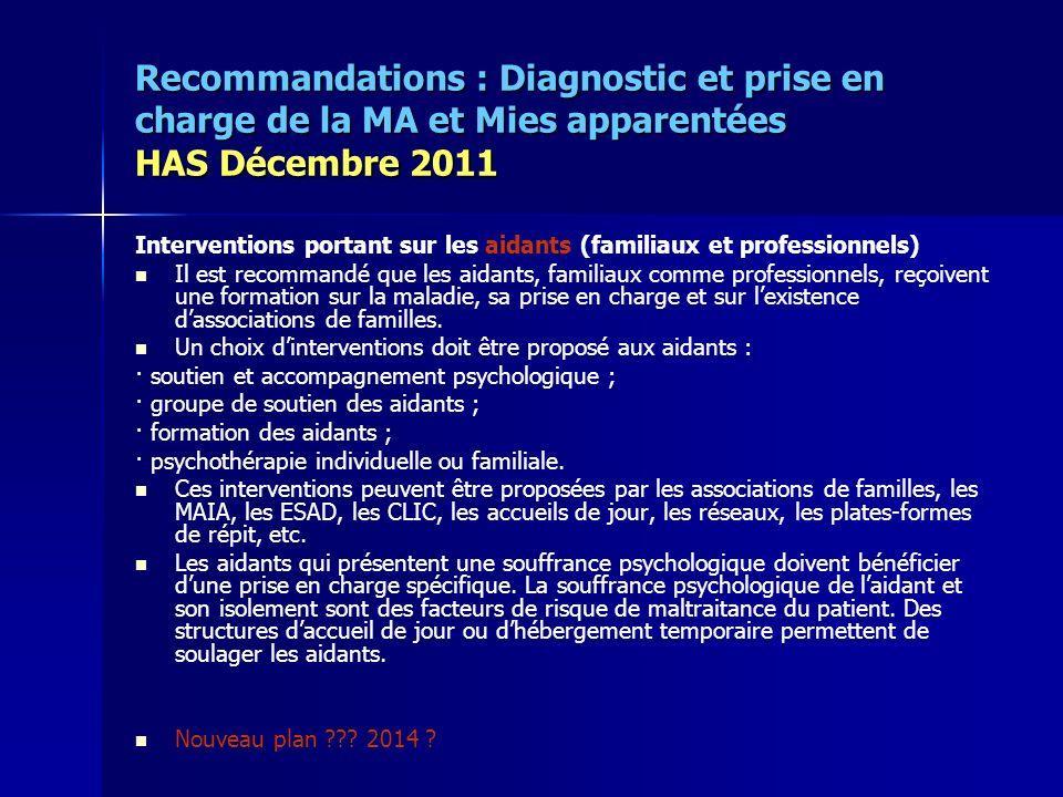 Recommandations : Diagnostic et prise en charge de la MA et Mies apparentées HAS Décembre 2011