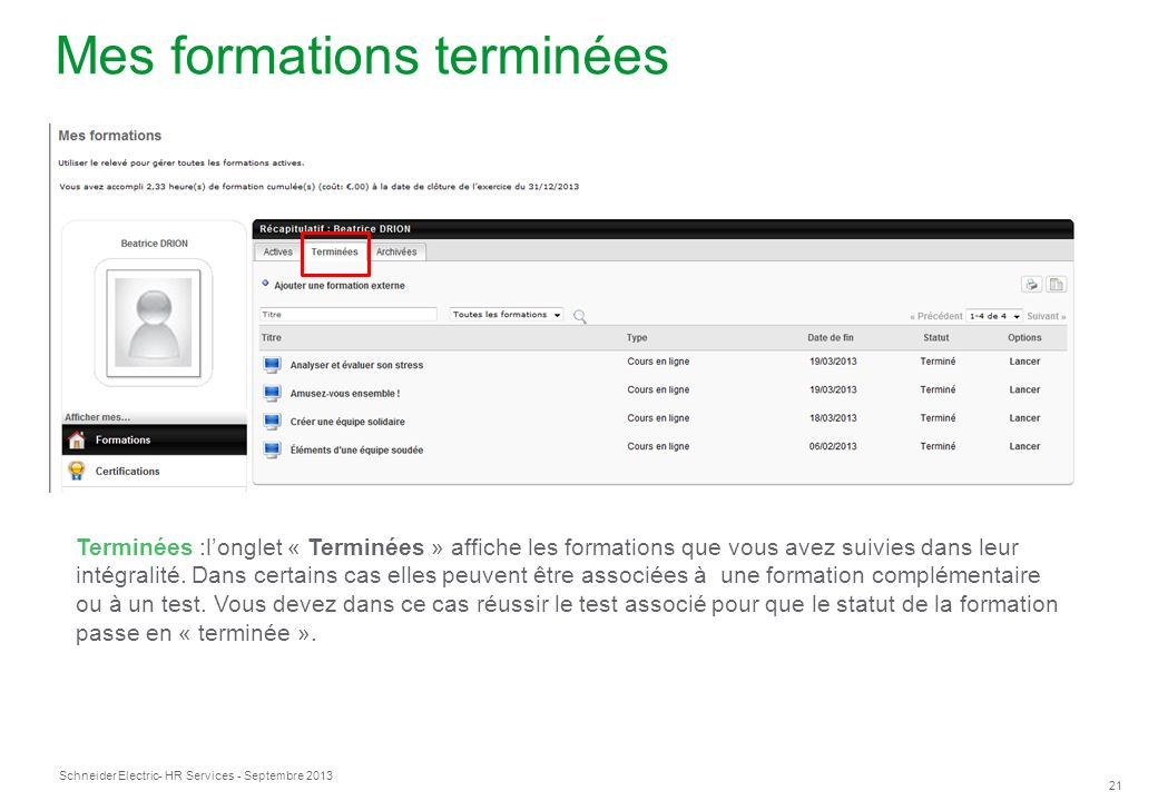 Mes formations terminées