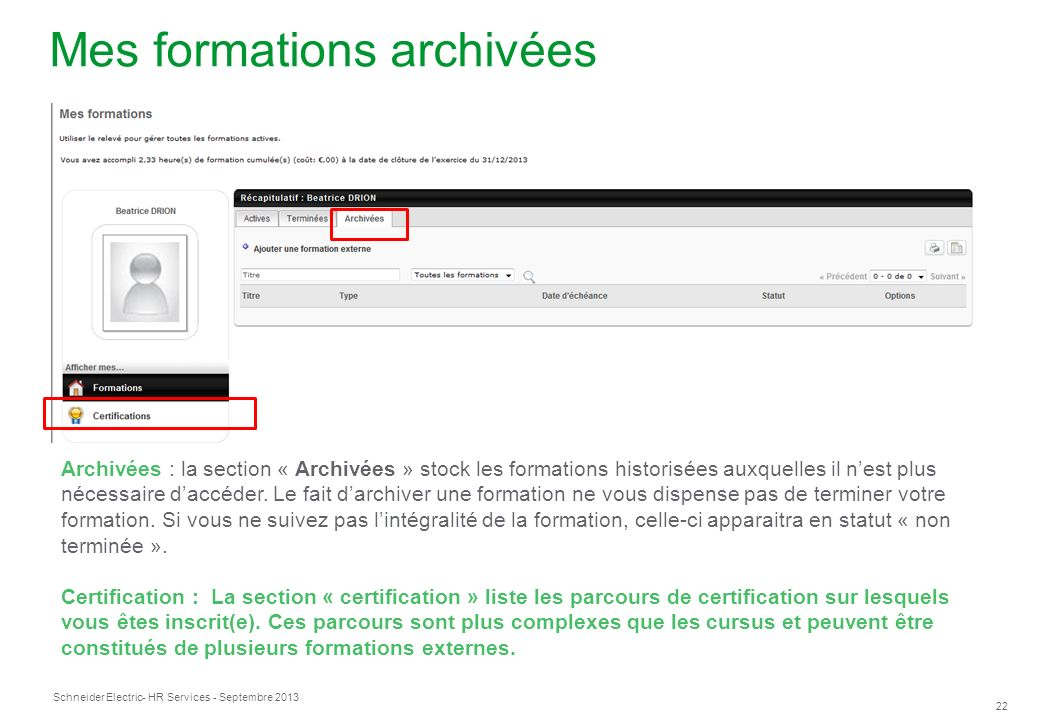 Mes formations archivées