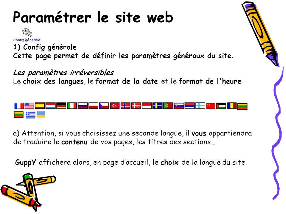 Paramétrer le site web 1) Config générale