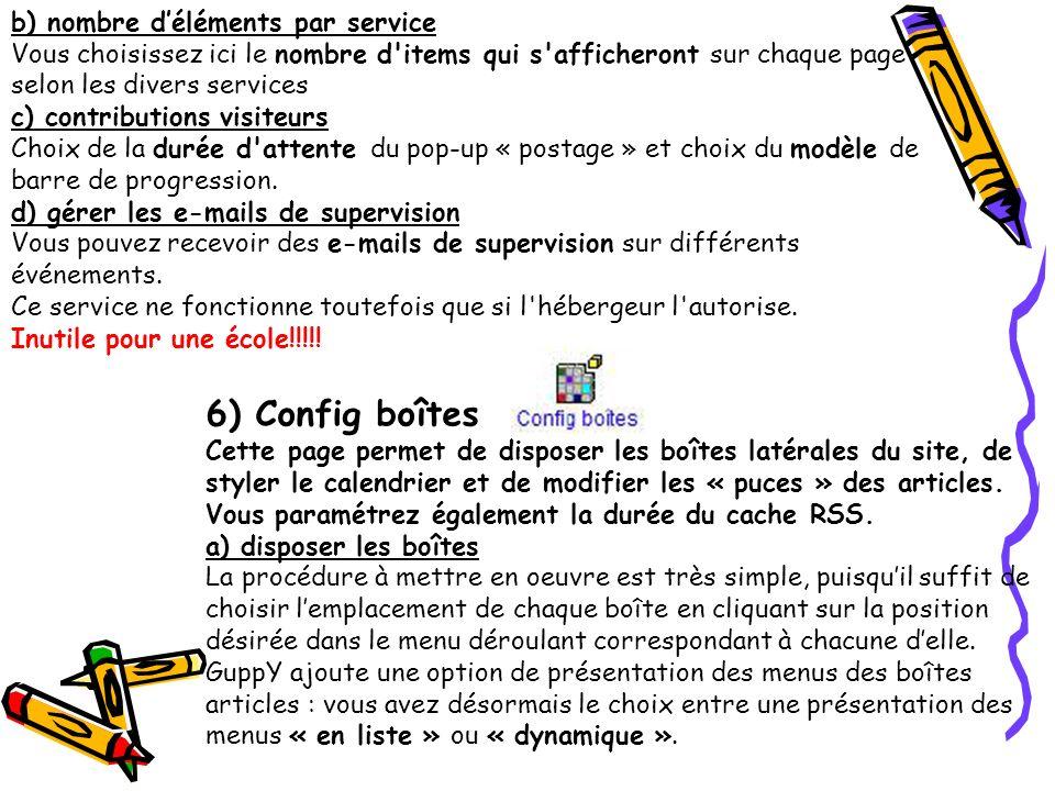 6) Config boîtes b) nombre d'éléments par service