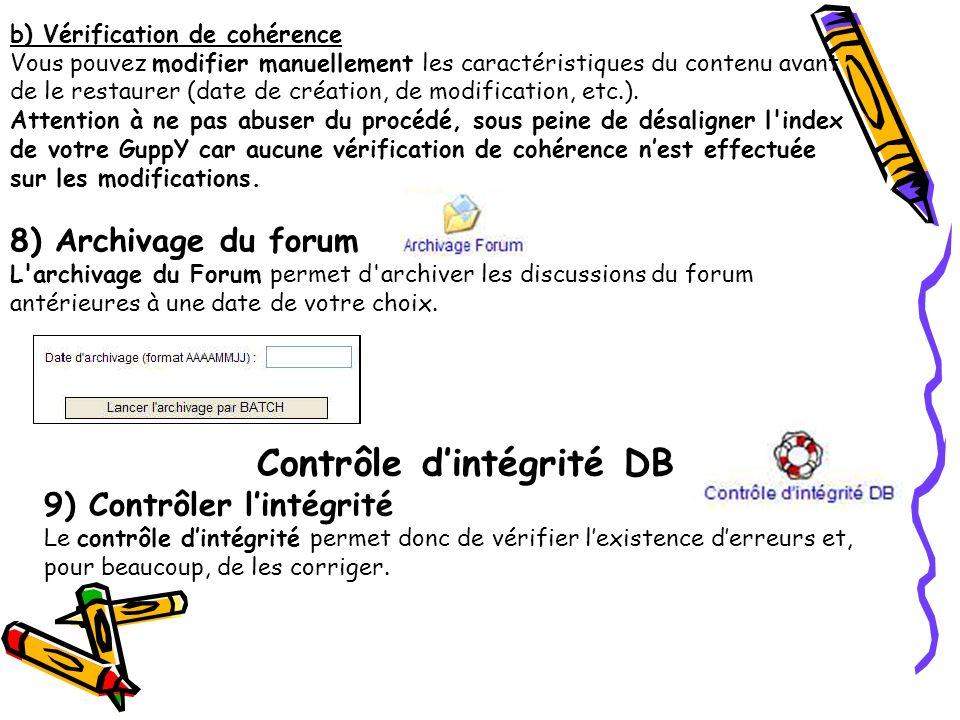 Contrôle d'intégrité DB