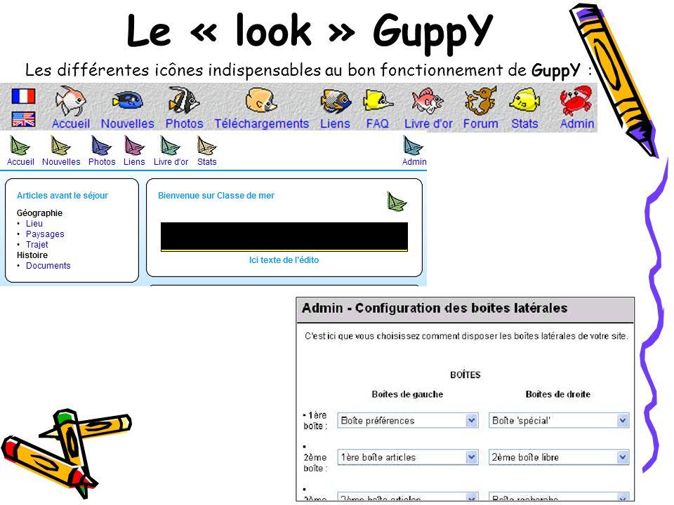 Le « look » GuppY Les différentes icônes indispensables au bon fonctionnement de GuppY :