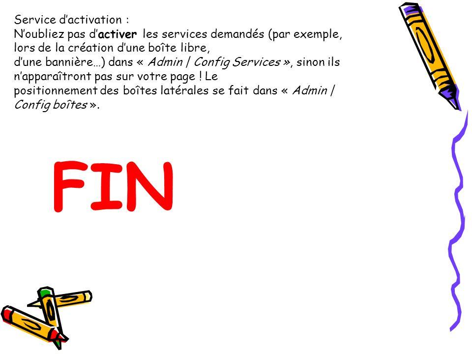 FIN Service d'activation :