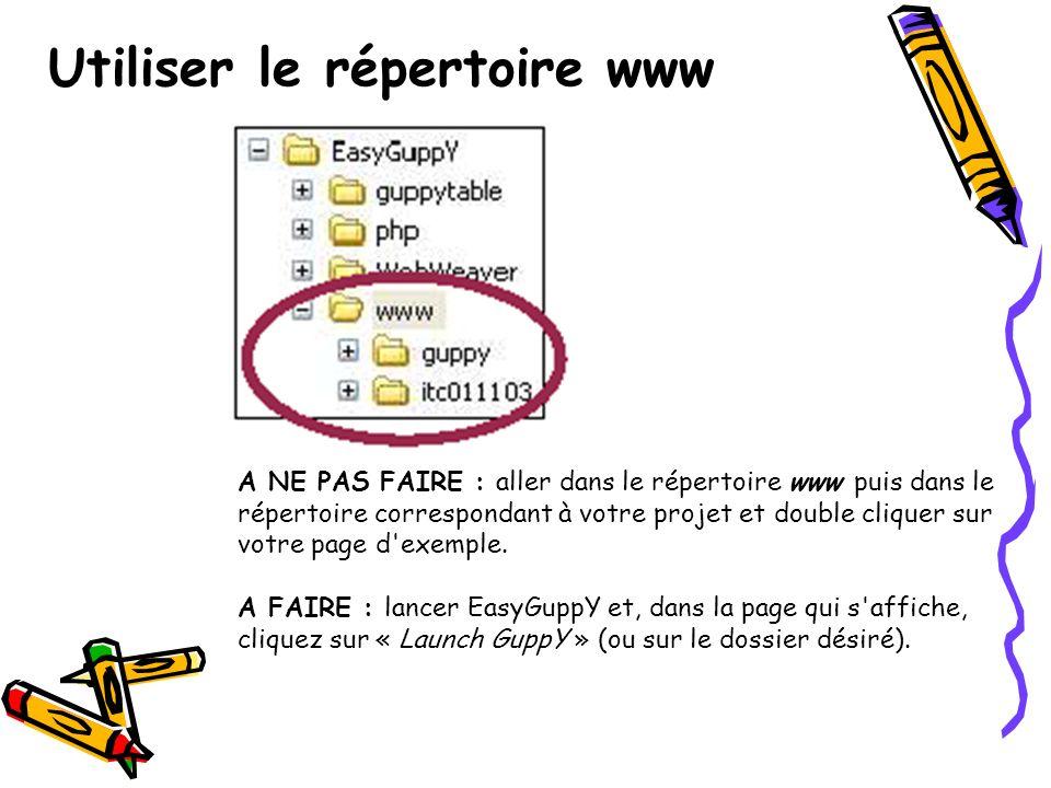 Utiliser le répertoire www