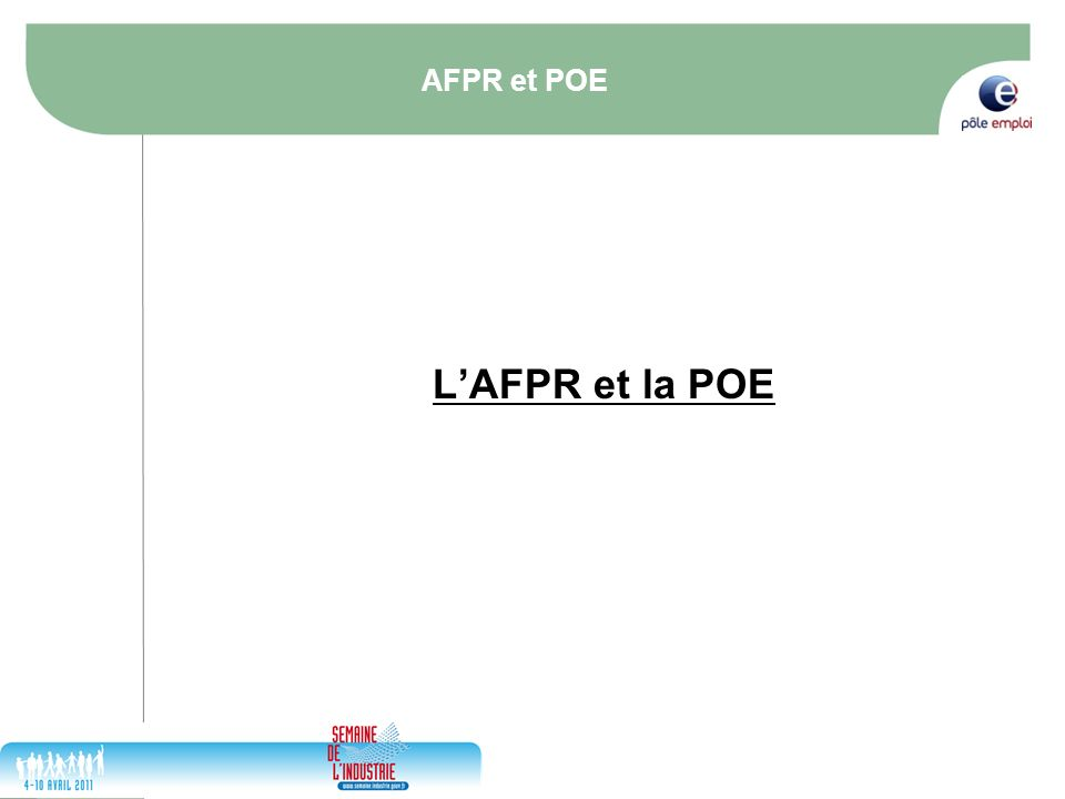 AFPR et POE L'AFPR et la POE 31/03/2017