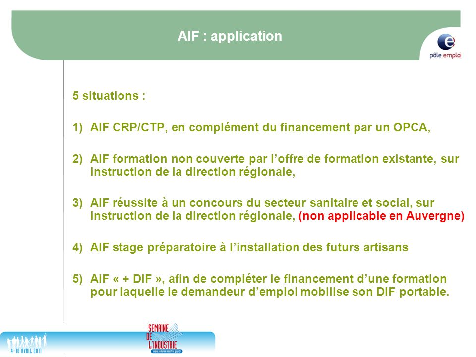 AIF : application 5 situations :