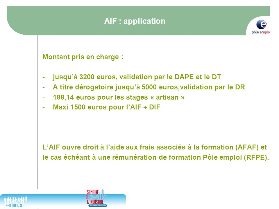 AIF : application Montant pris en charge :