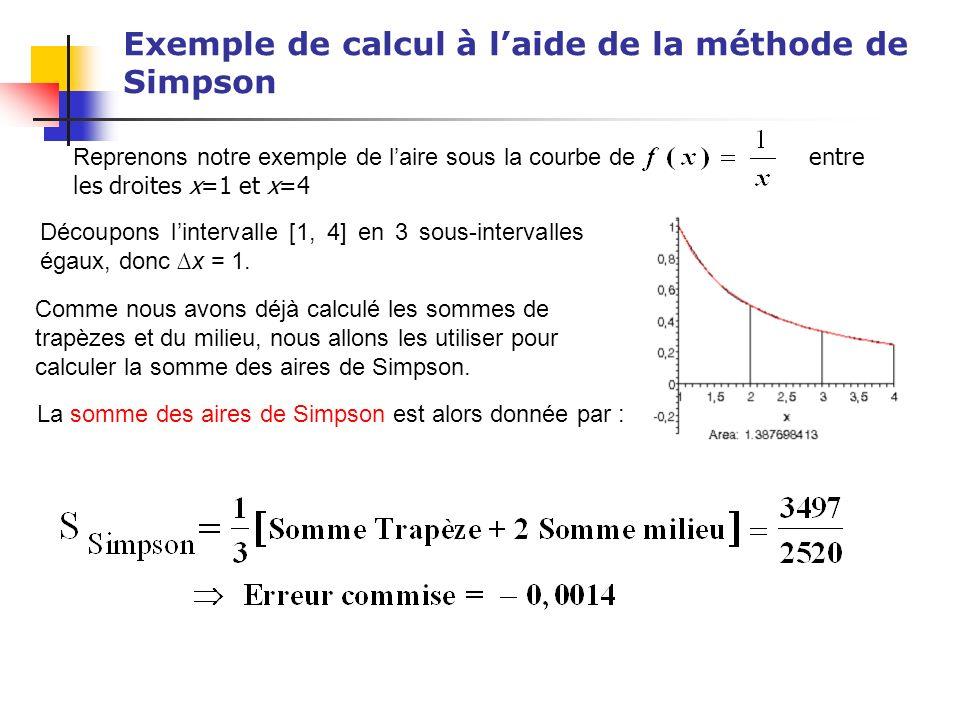 Exemple de calcul à l'aide de la méthode de Simpson