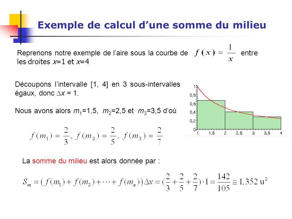 Exemple de calcul d'une somme du milieu