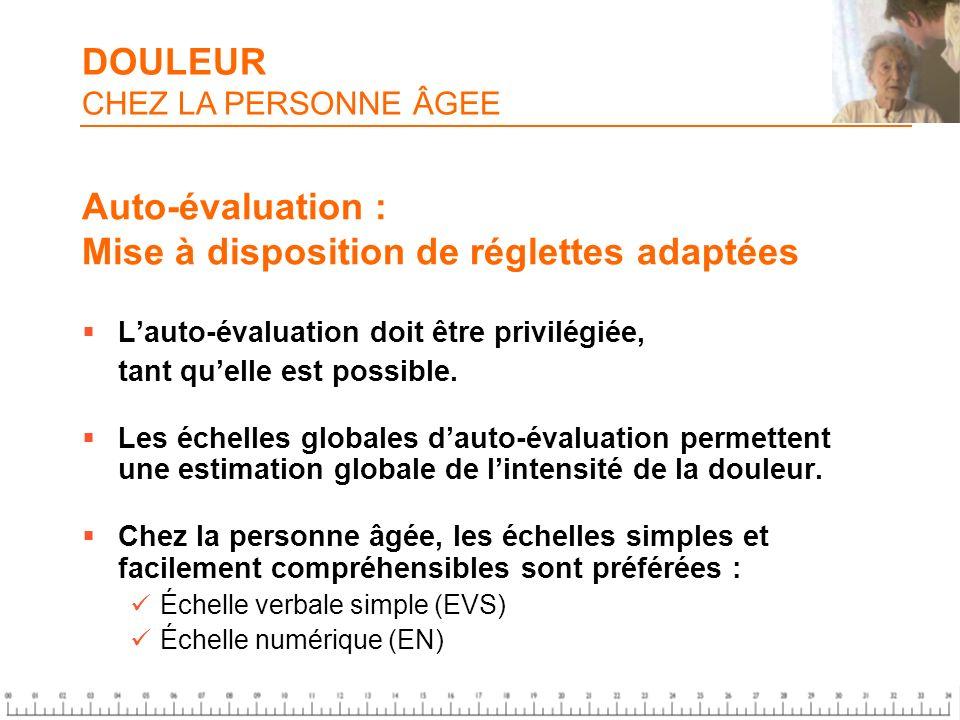 Auto-évaluation : Mise à disposition de réglettes adaptées