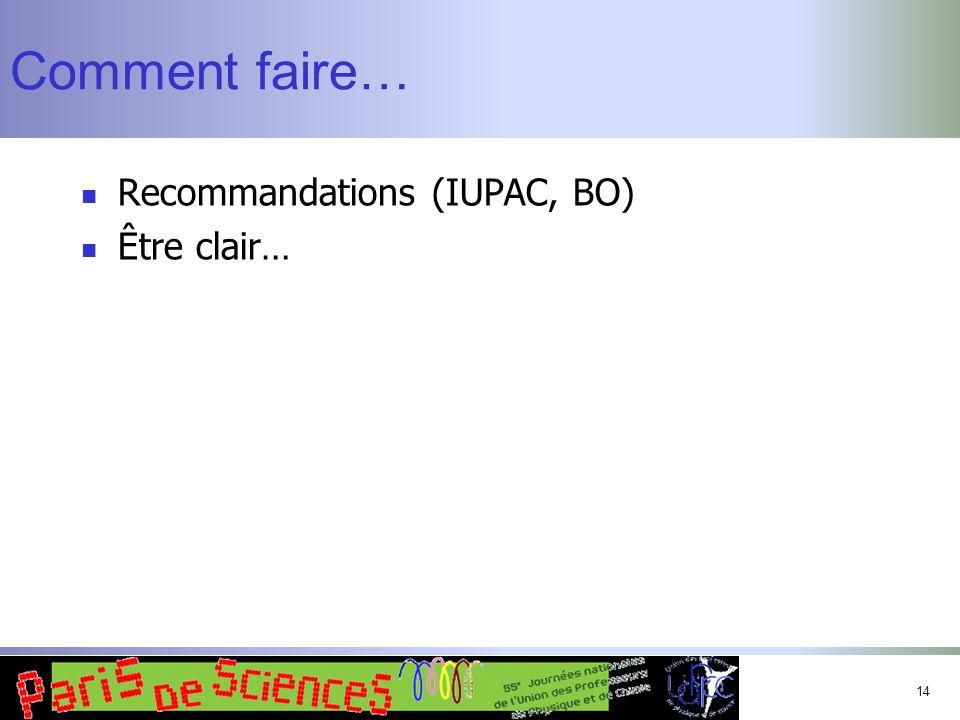 Comment faire… Recommandations (IUPAC, BO) Être clair…