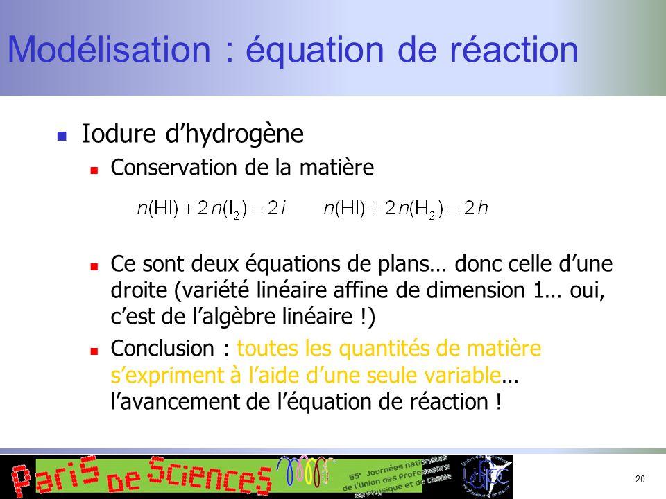 Modélisation : équation de réaction